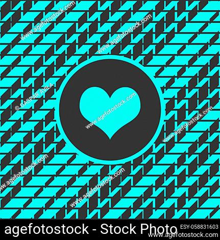 Turquoise geometric pattern and heart, on a dark gray background