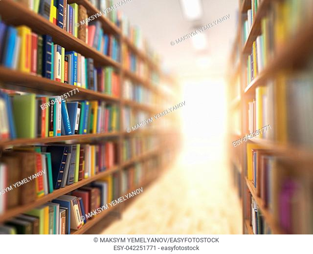 Library stacks of books and bookshelf with DOF effect and light in the end. 3d illustration