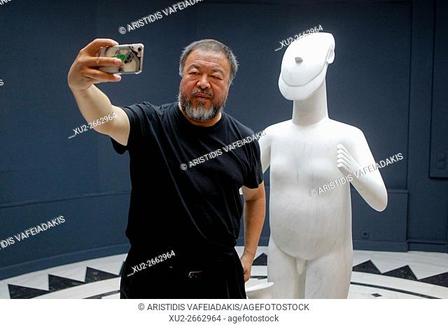 Chinese artist and activist AI WEIWEI gives a press conference during his exchibition in Cycladic Art museum. The Museum of Cycladic Art (MCA) in Athens...