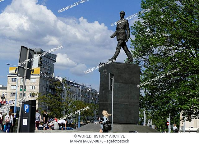 Photograph of a statue of the former President of France, Charles de Gaulle, is the subject of one of Warsaw's more prominent monuments