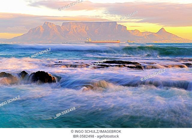 Table Mountain at dusk, seen from Bloubergstrand beach
