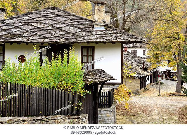 Traditional houses and square of Bojentsi, Bulgaria