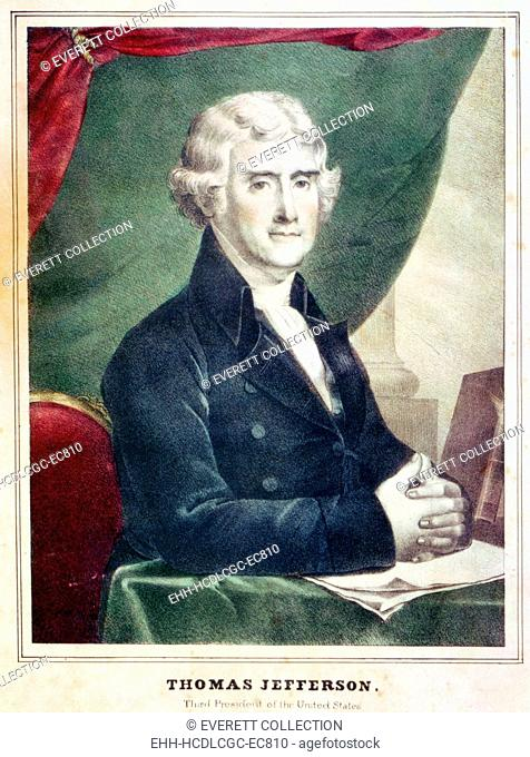Thomas Jefferson, third President of the United States. Color lithograph, copy of a painting by Gilbert Stuart. ca. 1805