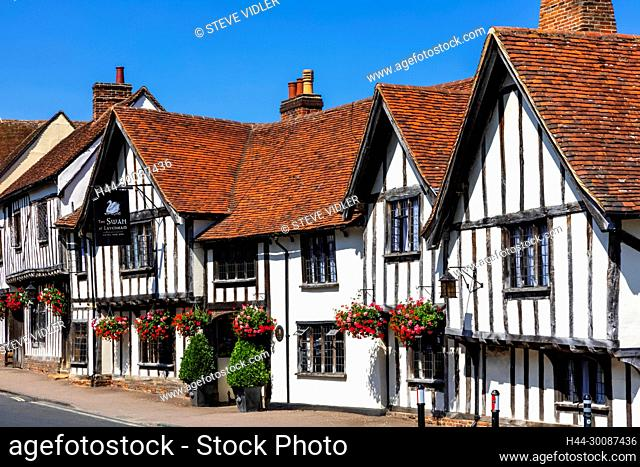 England, Suffolk, Lavenham, The Swan Hotel and Empty Road