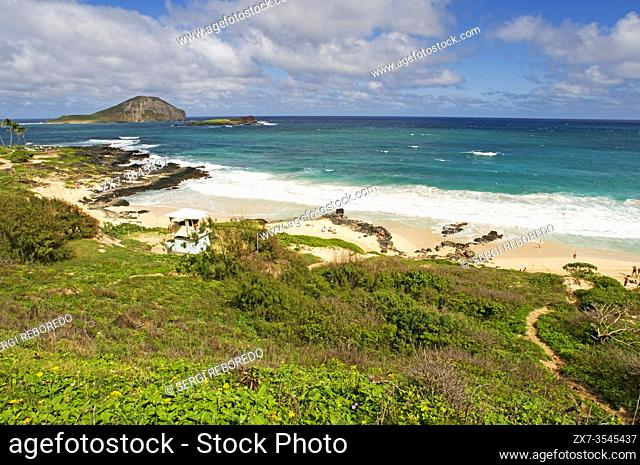Makapu'u beach at the eastern end of the island. Views, with Manana Island. O'ahu. Hawaii. Beautiful Makapuu Beach and beach park