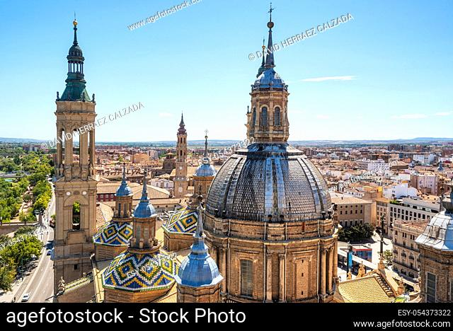 Aerial cityscape view of basilica of Our Lady in Zaragoza city in Spain