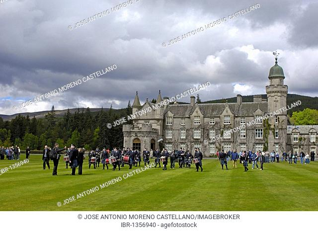 The Grampian Police Pipe Band at Balmoral Castle, Aberdeenshire, Scotland, United Kingdom, Europe