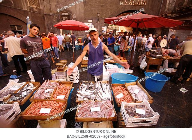 The traditional fish market on the old marketplace in the Old Town of Catania, Italy