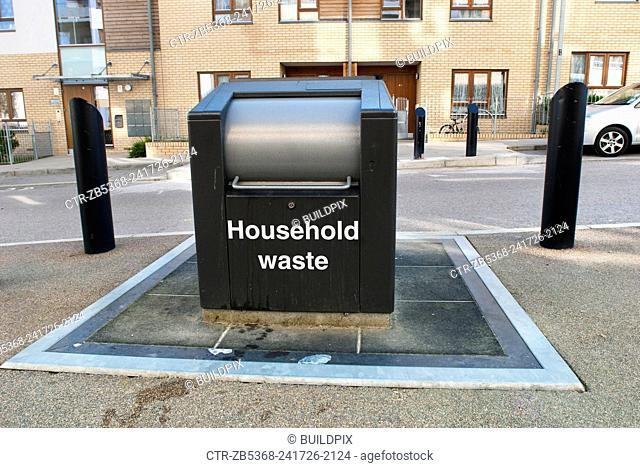 Underground waste storage in Bow Cross, East London, UK