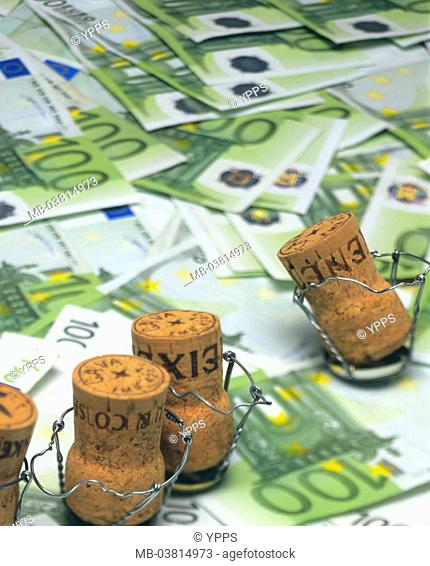 Bills, Euro, champagne cork,    Money, means of payment, cash, appearances, Euro appearances, hundred Euro appearances, business, economy, currency