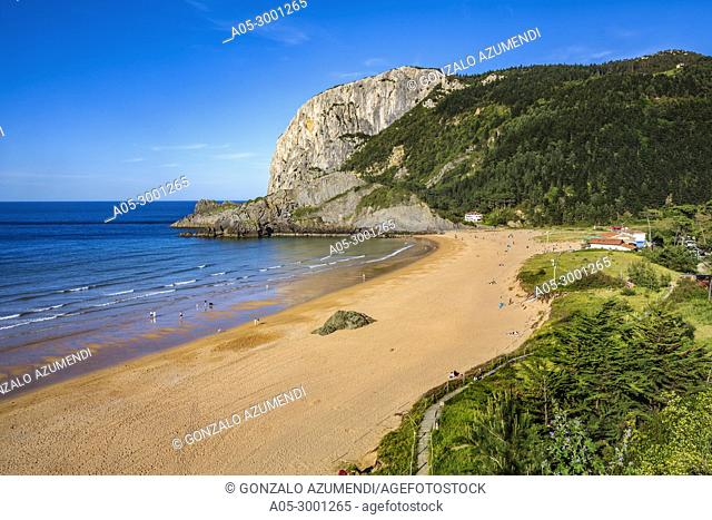 Laga Beach. In the background Ogoño cape. Urdaibai biosphere Reserve. Urdaibai. Region. Bizkaia. Basque Country. Spain