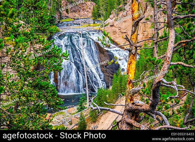 The refreshing flow of natural water resource on top the Yellowstone Falls