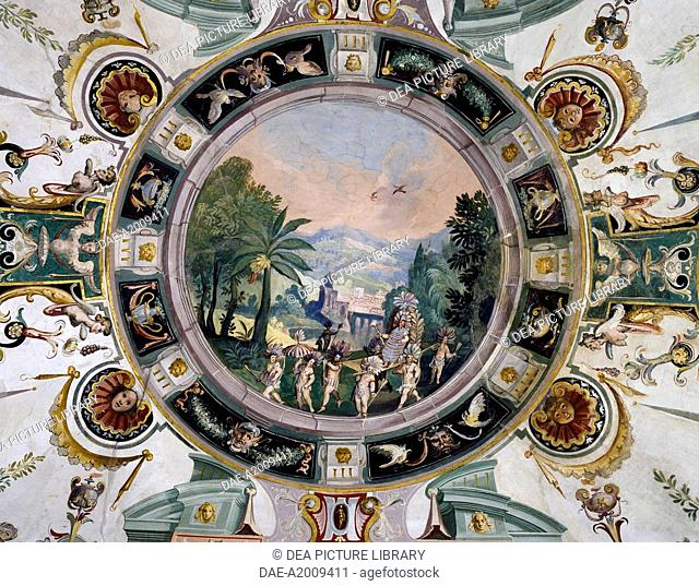 The royal court of the king of Mexico and grotesques, fresco by Ludovico Buti (1560-1610). Vault of Room 21, Armory, Uffizi Palace, Florence