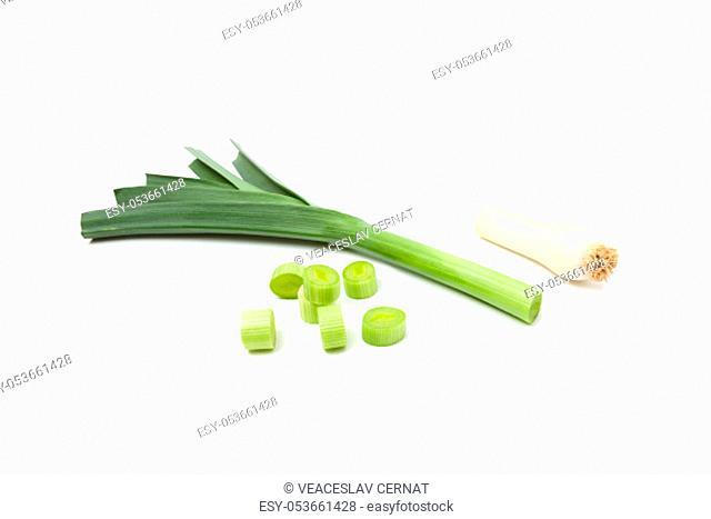 Green leek sliced isolated on white background
