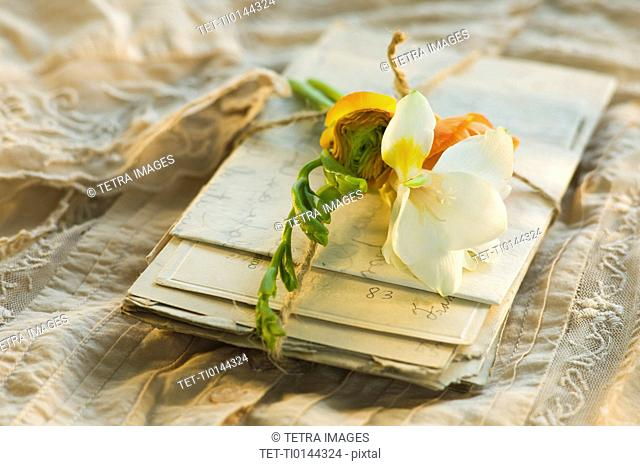 Flowers on pile of letters