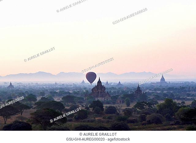 Hot Air Balloons Above Ancient Temples, Bagan, Myanmar