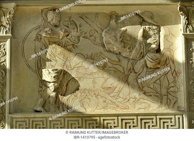 Relief of the war god Mars with Romulus and Remus, Altar of Augustan Peace, Ara Pacis Augustae, westside, Rome, Lazio, Italy, Europe