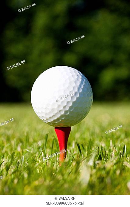 Golf ball and tee, close up