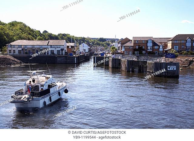 Boats waiting to enter Penarth marina, south Wales