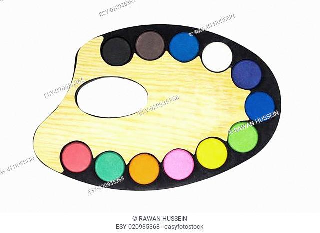 Plastic art palette with paint