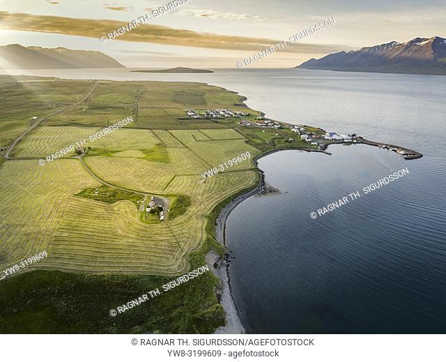 Farmland, Eyjafjordur, Iceland. This image is shot using a drone