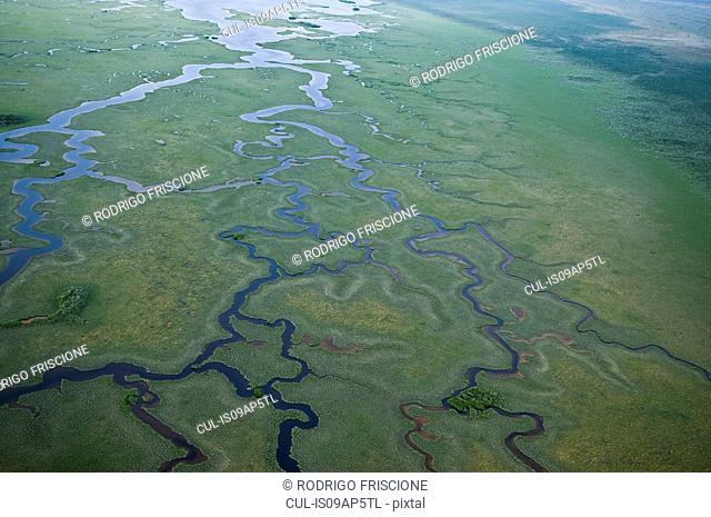 Aerial view of wetland waterways at Sian Ka'an natural reserve, Quintana Roo, Mexico