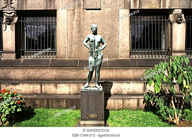 Statue in front of a museum, Ny Carlsberg Glyptotek, Copenhagen, Denmark