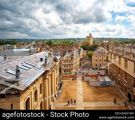 The view from the cupola of Sheldonian Theatre to the intersection of Catte street and New College line, Hertford bridge and bell tower of New college