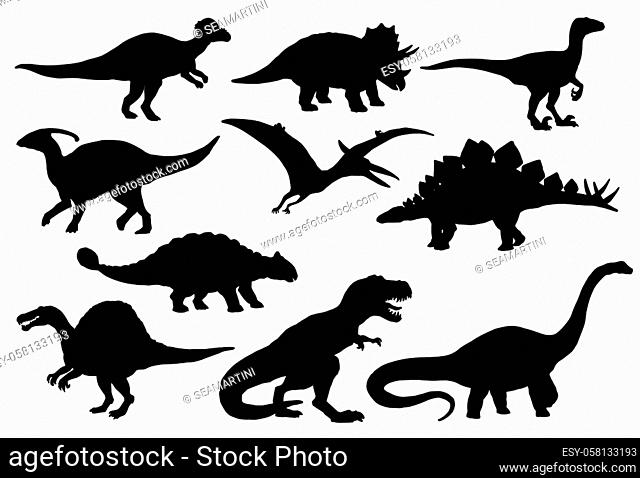Dinosaurs and Jurassic dino monsters icons. Vector silhouette of triceratops or T-rex, brontosaurus or pterodactyl and stegosaurus