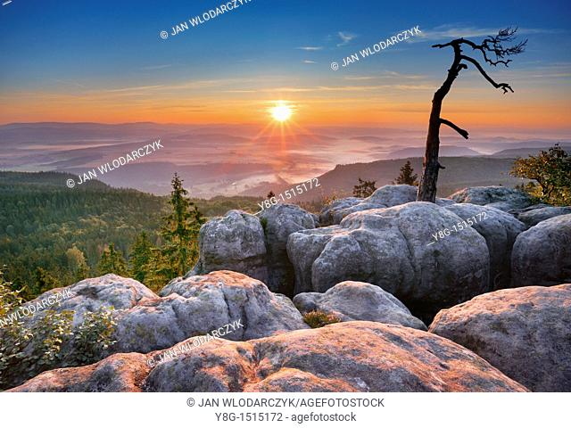 Sunrise at Szczeliniec - Sudety Mountains, National Park, Poland, Europe