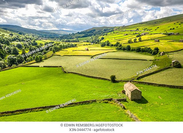 The lush green countryside of Swaledale, Yorkshire, UK