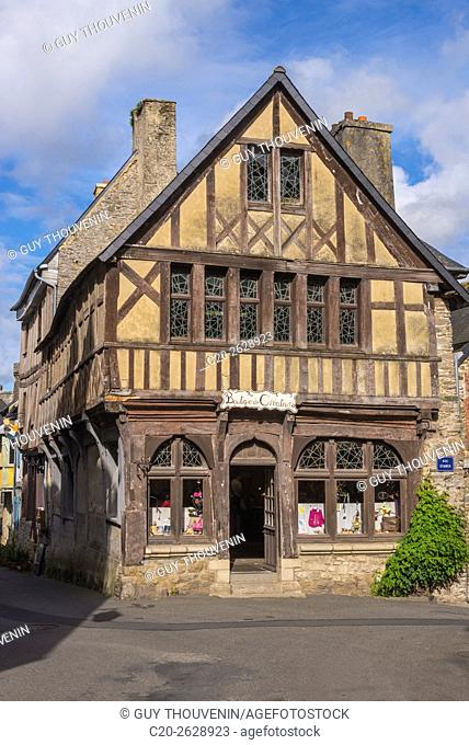 Touristic shop in half timbered medieval house, Treguier, 22, Brittany, Cotes d'Armor, France