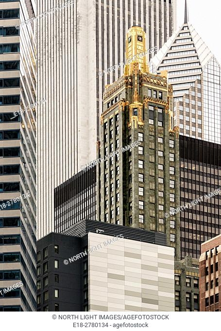 USA, IL, Chicago. The Carbon and Carbide Building, 1929 Art Deco office tower in the center, surrounded by more modern towers