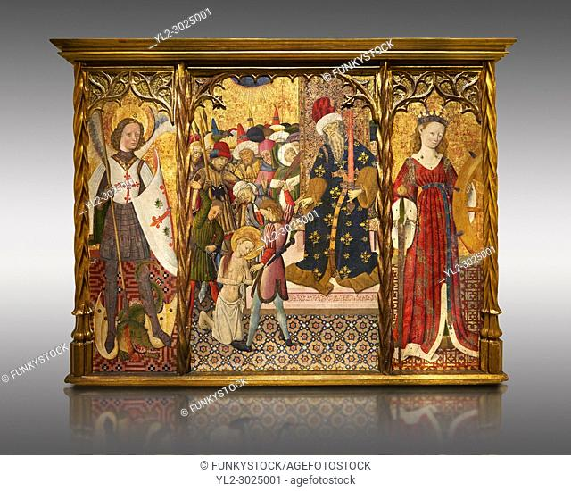 Gothic altarpiece depicting left to right - the Archangel Gabriel, the martyrdom of Santa Eulalia and St Caterina, by Bernat Martorell, circa 1442-1445