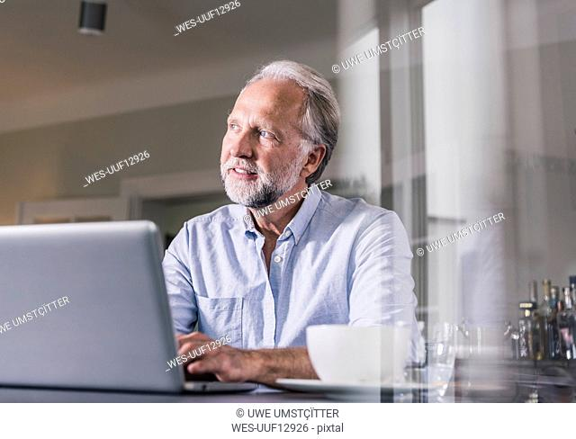 Portrait of mature man sitting at table using laptop at home