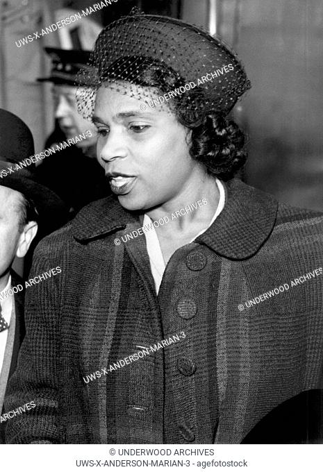 Paris, France: March 5, 1949.Opera contralto Marian Anderson as she arrives in Paris after crossing on the H.M.S. Queen Elizabeth