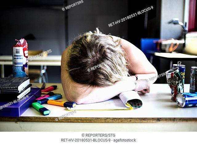Belgium , Brussels , MAY 31, 2018 - NEWS -ILLUSTRATION  Illustrations photographique sur la periode d examens. Les etudiants en ecole superieure sont en periode...