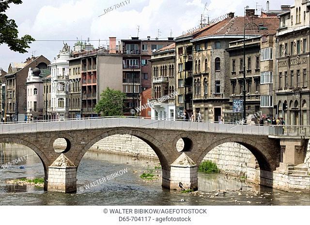 Latin Bridge over the Miljacka River. Here in 1914 the assasination of Austrian Archduke Ferdinand by Serbian Nationalist Gavrilo Princip started WW1