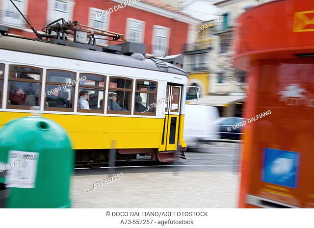 28 tram at Santa Luzia, Alfama district. Lisbon. Portugal