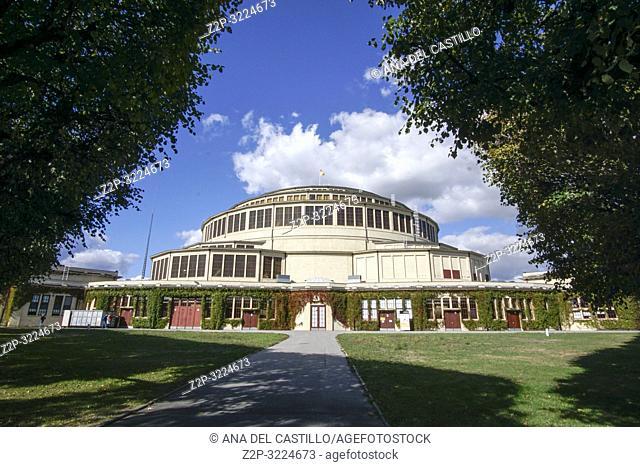 WROCLAW POLAND ON SEPTEMBER 25, 2018: Breslau Jahrhunderthalle - Hala Stulecia- Wroclaw Centennial Hall and fountain