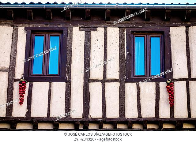 Typical house with Christmas decorations, Sepulveda, Segovia-province, Castilla-Leon, Spain