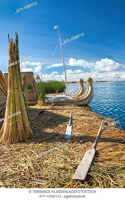 The floating Islands in Lake Titicaca, Peru, South America