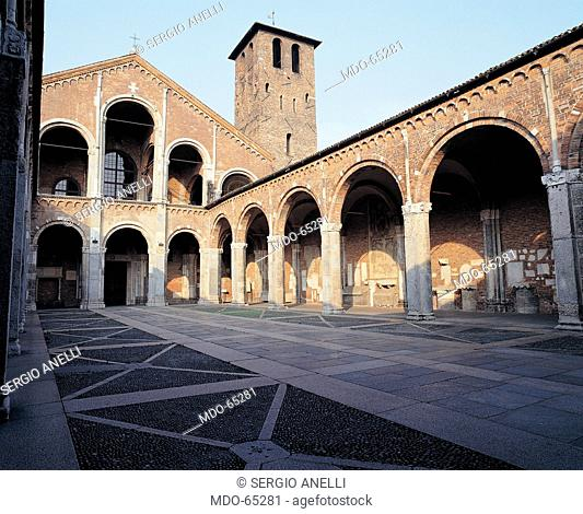 St Ambrose Basilica in Milan, by Unknown artist, 1080, 11th Century, unfaced brick. Italy; Lombardy; Milan; Sant'Ambrogio Basilica;