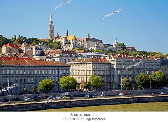 Budapest , Matthiaskirche and Fisherman's Bastion at Buda , River Danube , Hungary , Europe