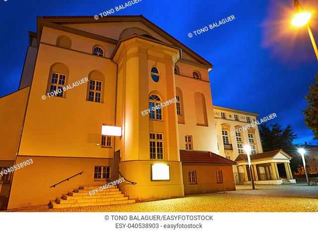 Nordhausen Theater at night in Harz Thuringia of Germany