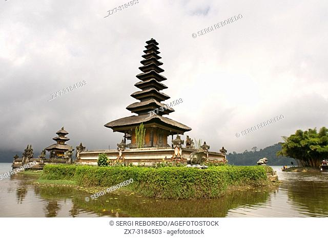 Hindu Buddhist temple Pura Ulan Danu Bratan on shores of Lake Bratan in Bali Indonesia