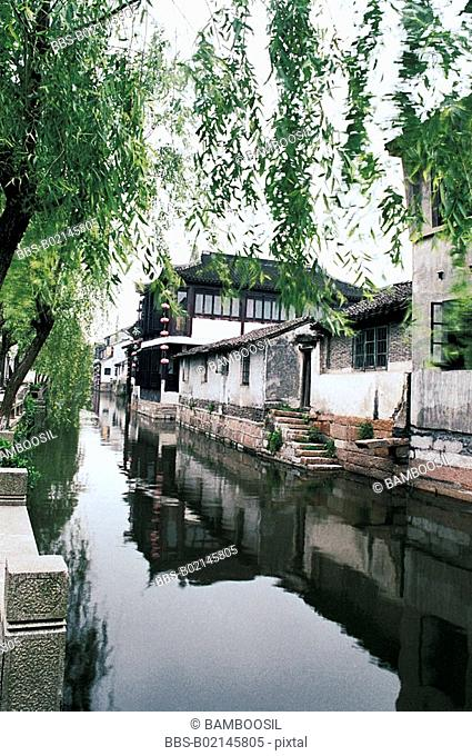 House by river, Scenery of Xitang Town, Jiaxing City, Zhejiang Province, People's Republic of China