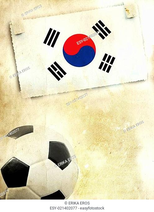 Photo of South-Korea flag and soccer ball
