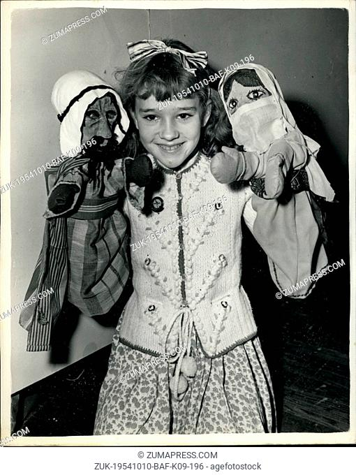 Oct. 10, 1954 - Preview of the Annual Puppet Exhibition: A preview was held this morning at the Royal Hotel, Woburn Place - of the annual exhibition of the...