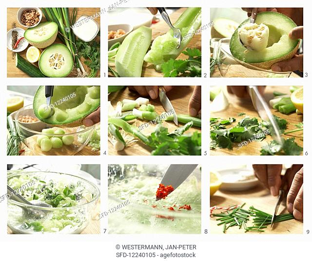 How to make melon and cucumber soup with crab